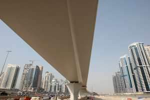 Dubai Metro's elevated track on Sheikh Zayed Road. Dubai Marina Residence is on the left, and Jumeirah Lakes Towers are on the right. Pawan Singh / The National
