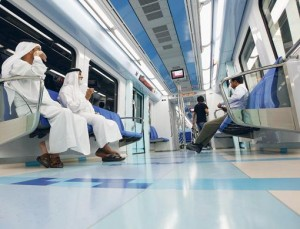 Francois Nel/Gulf News Residents of Dubai make use of the Metro between Al Rashidiya and Airport Terminal 3 stations. The Dubai Metro opened to the public on Thursday.