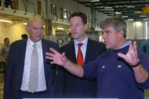 Vince Cable and Nick Clegg with Adie Webb, operations manager