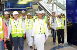 Mattar Al Tayer inspecting work progress at Metro stations.