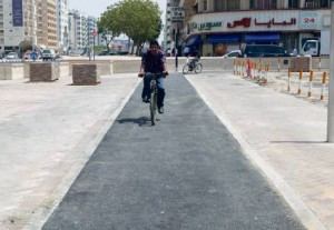 Part of the cycle track on Al Rigga Road in Deira is up and ready for use. It is connected to the Dubai Metro station. Image Credit: Javed Nawab, Gulf News