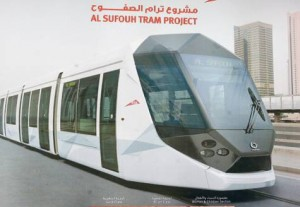 Ready to roll: An artist's impression of a Citadis 402 train on display at the Gulf Traffic Conference Image Credit: Virendra Saklani