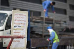 Work in progress at the Ibn Battuta station. Andrew Henderson / The National