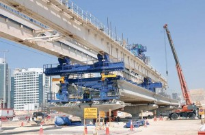 2007 Workers are busy laying part of the track of the Dubai Metro. The Red Line extends 52km and comprises 29 stations (4 underground and 25 elevated).