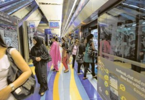 *  Metro commuters exit at Khalid Bin Al Waleed Station. Thousands used the Metro for free on Monday.     * Image Credit: Megan Hirons Mahon/Gulf News