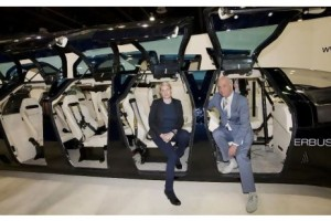 Wubbo Ockels and Antonia Terzi, showing off the Superbus in Dubai, believe it can reach its theoretical cruising speed of 250kph. Jaime Puebla for The National