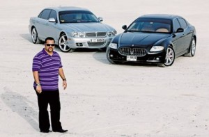 * Image Credit: Christopher List/ANM * Sabir Antulay with his 2010 Maserati Quattroporte and 2009 Jaguar XJ8, just two of the cars in his collection.