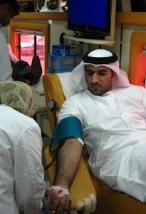 RTA employee donating blood.