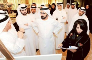 Image Credit: WAM     Shaikh Mohammad being briefed about the tram project by Mattar Al Tayer. Shaikh Maktoum Bin Mohammad BIn Rashid Al Maktoum, Deputy Ruler of Dubai and Engineer Maitha Bin Udai, CEO of RTA Traffic and Roads Agency, are present.