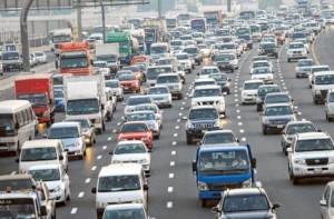 Image Credit: Virendra Saklani/Gulf News     Traffic proceeding to Sharjah from Dubai on Emirates Road during evening rush hour. The Ministry of Public Works is widening roads and building interchanges to improve traffic flows. It is expanding the capacity of Emirates Road and Sharjah Ring Road.