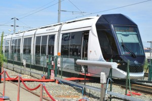 The test run of Al Sufouh Tram conducted on a 700 km-long track in the facilities of Alstom Company in France. Photo courtesy of RTA