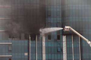 A building under construction in Business Bay caught fire on Saturday morning. Smoke was seen billowing from the building, which is located near the Dubai Mall Metro Station along Shaikh Zayed Road.Photo:Sankha Kar