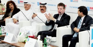 The From left: Suzanne Al Anani, CEO of Dubai Aviation Engineering Projects; Khalifa Al Zaffin, executive chairman, Dubai Aviation City Corporation; Mohammed Ahli, director-general, Dubai Civil Aviation Authority; and Paul Griffiths, CEO of Dubai Airports; at the Press conference of Dubai Airshow 2013 at Al Maktoum International Airport in Dubai on Wednesday. — KT photo by Rahul Gajjar
