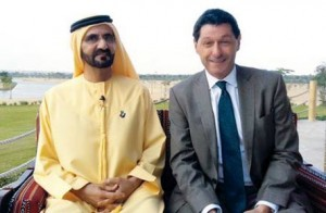 Sheikh Mohammed with John Sopel of the BBC. (Al Bayan)