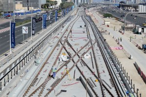 Tracks being laid of Al Sufouh Tramway from Dubai Marina. - KT photos by Rahul Gajjar