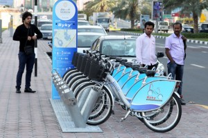 One of the newly installed bicycle sharing stations at Buhairah Corniche in Sharjah. — KT photo by M. Sajjad