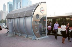 Image Credit: Abdel-Krim Kallouche/Gulf News A solar-powered bus shelter. The trial project, which began in February, will run until the end of the year.