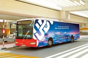 Image Credit: RTA A public bus with the Brand Dubai logo. The Roads and Transport Authority is using the logo on the Metro, public buses, taxis, water bus, water taxi and ferry.
