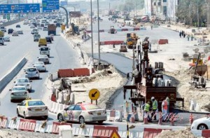 Image Credit: Virendra Saklani/Gulf News Workers giving final touches to the alternative road on Shaikh Zayed road as work continues on Dubai Canal project