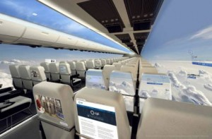 Image Credit: EPA An aircraft cabin concept surrounded by the panoramic views of the windowless aircraft and showing the possible touchscreen and interactive entertainment offered by the wall and seatback displays.