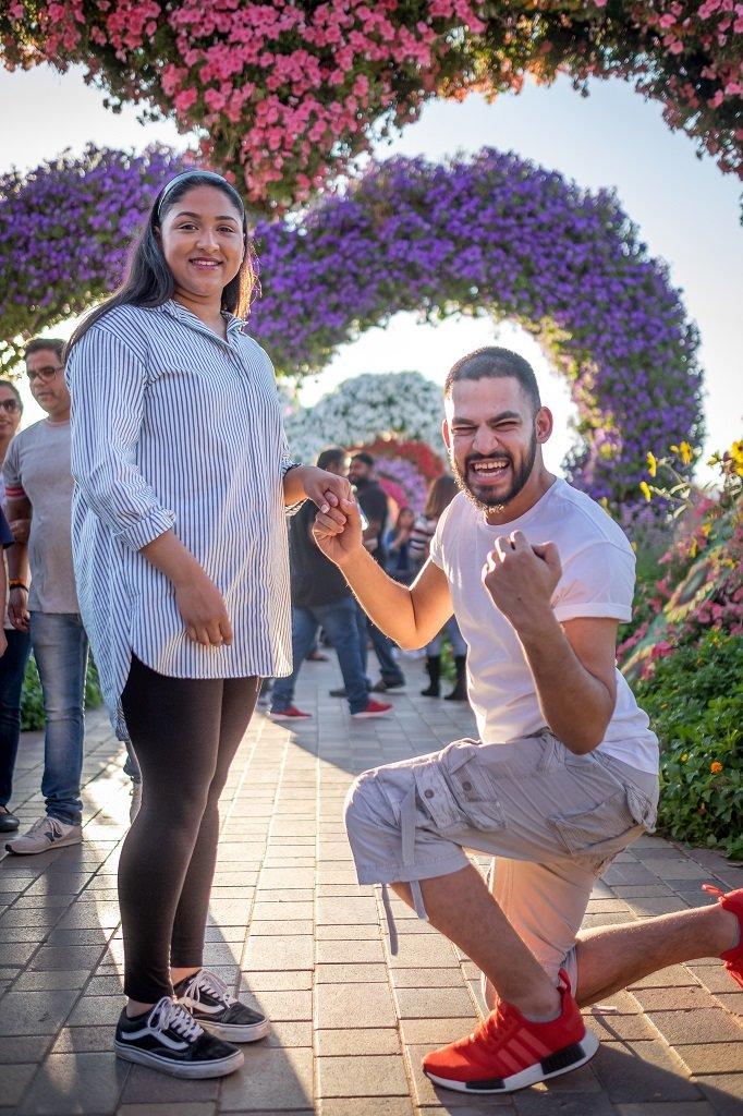 Dubai Miracle Garden Proposal Gone Right - Romantic Places in Dubai