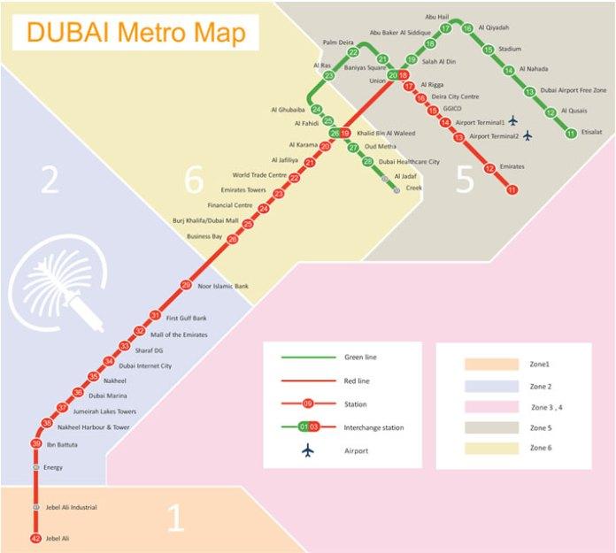Dubai Metro Map - Schematic