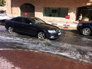 The cars were making waves just outside my work