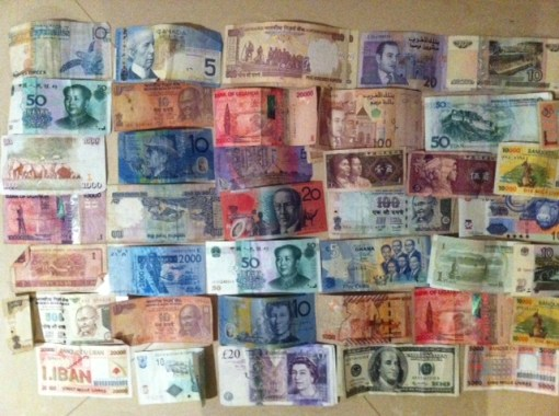 The colour of DH's money: we keep all his foreign notes in a 'bus bank'. He's always trying to pass them off on me!