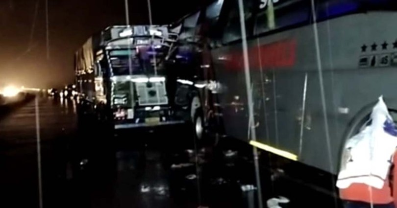 Truck crashes into parked bus: 18 workers on sleeping bus die