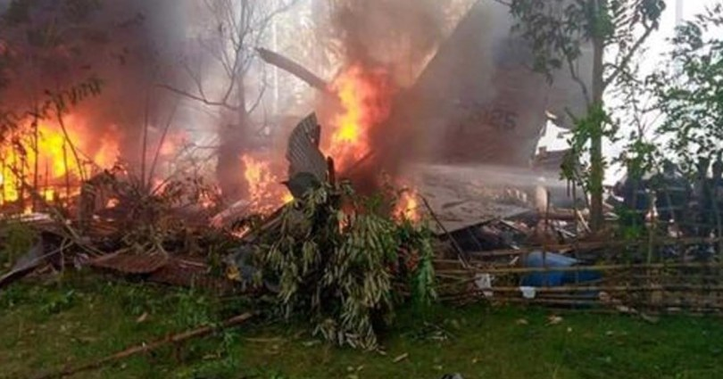 Philippine military plane carrying 85 people crashes