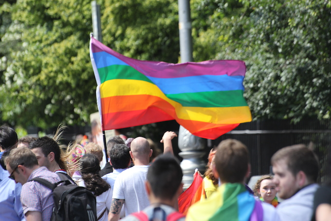 Pride flag at Dublin LGBTQ Pride Parade 2014
