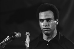 black panthers dogwoof documentary #5 Huey Newton at microphone. Photo courtesy of Stephen Shames