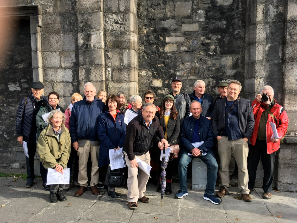 Dublin Decoded group St Nicolas WthIn, on Medieval Walls Walk, October 18