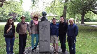 during the tour taking photos with james joyce's sculpture
