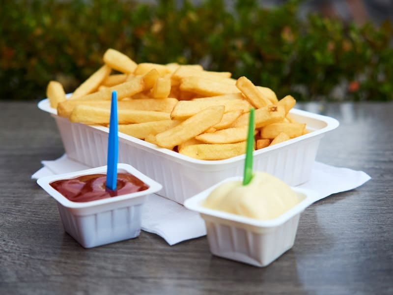 Belgian fries. The best are in the Frituures. Belgium Bruges
