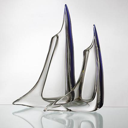 VELA TRASPARENTE CON CORDONE BLU Vela Transparent & Blue  H 35/50 cm