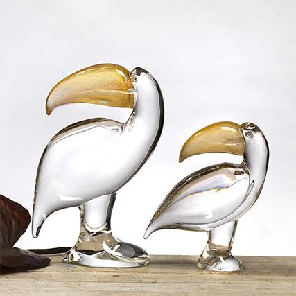 TUCANI TRASPARENTE & ORO Toucans Transparent & Gold   H 28 / 38 cm
