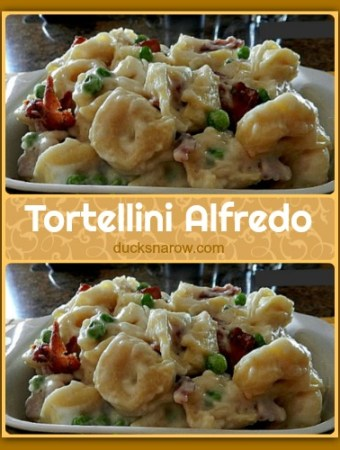 Tortellini Alfredo made with bacon and peas #recipes