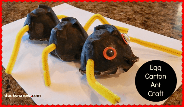 A is for Ant egg carton preschool craft