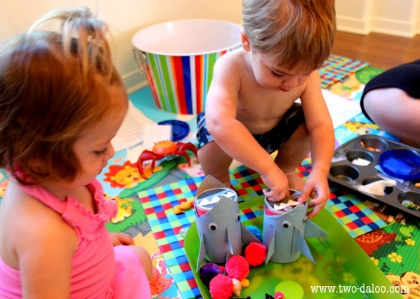 Shark sorting game for toddlers from Two Daloo blog