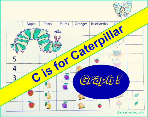 preschool graphing activity; caterpillar; C is for Caterpillar