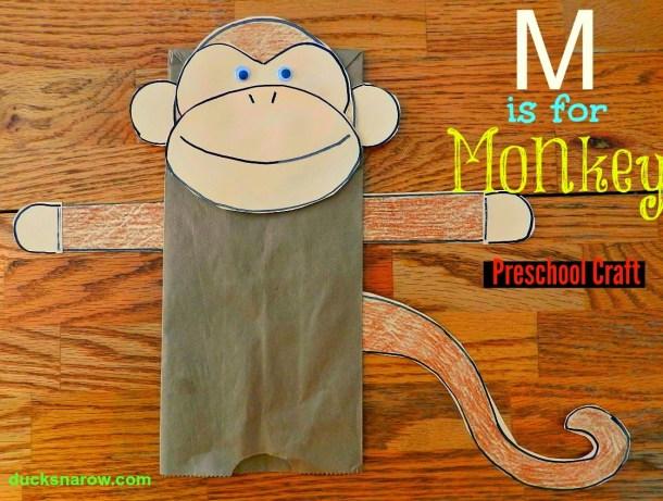 How to make a cute monkey puppet using a paper bag #preschool #crafts