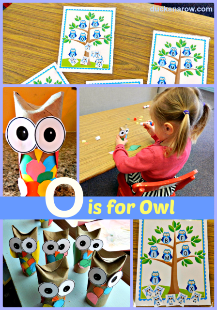 O is for owl preschool craft; toilet paper roll craft