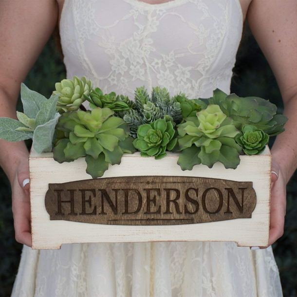 Personalized vintage wood planter box #ad