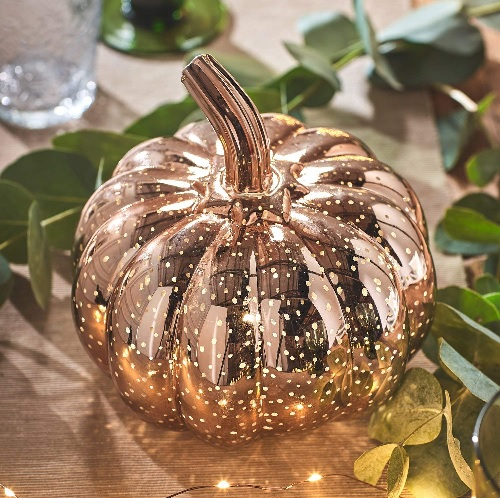Light-up rose gold pumpkin decor for the fall #ad