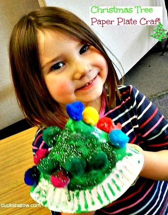 Simple little Christmas tree craft made from a plain paper plate