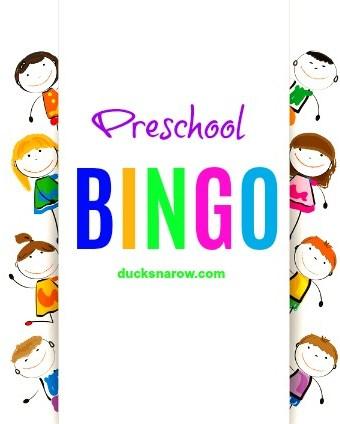 Preschool Bingo game and tokens - free printables
