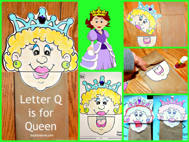 Paper bag hand puppet Letter Q is for Queen #preschool lesson