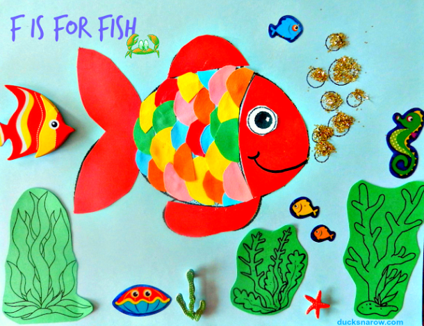 preschool, alphabet, fish, kids crafts, preschool crafts, rainbow fish