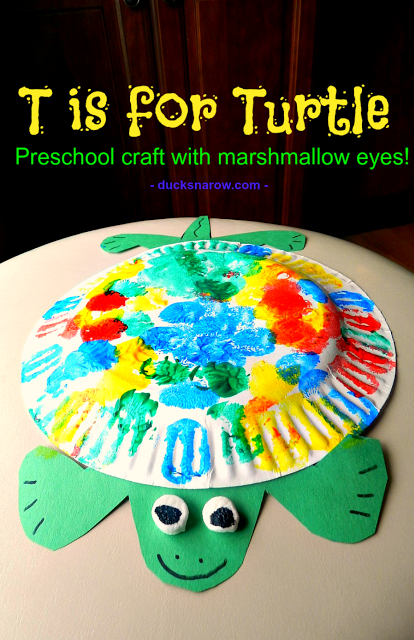 T is for Turtle preschool craft with 3-D marshmallow eyes #kidcrafts